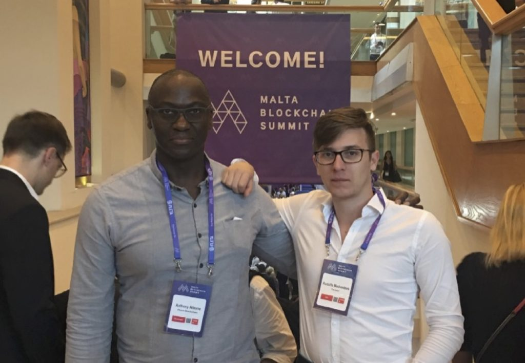 Anthony Alleyne, Phore Co-CEO and Rudolfs Medvedevs, CRO, Ternion at the Malta Blockchain Summit, November 2018.